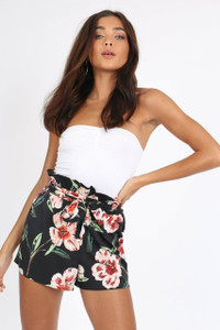 Black Floral High Waist Paperbag Shorts
