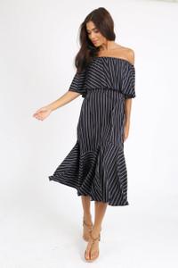 Black Stripe Double Layer Bardot Midi Dress