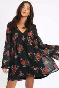 Black Floral Double Layer Smock Mini Dress