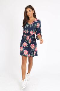 Navy Floral Button Down Mini Dress