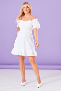 Broderie Lace Up Mini Dress