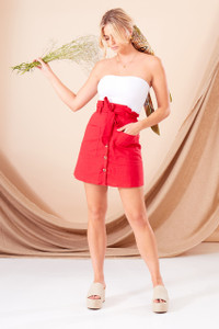 Red Textured Cotton Paperbag Mini Skirt