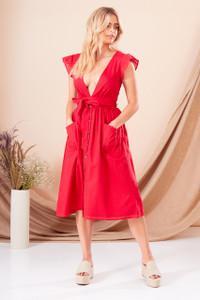 Red Textured Cotton Plunge Dress