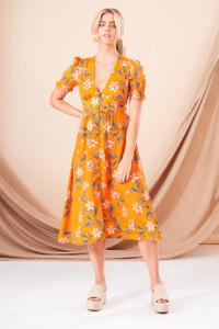 Chloe Floral Button Front Midi Dress