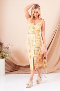 Aria Stripe Button Front Midi Skirt