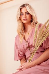 Pink Button Down Shirred Waist Crop Top