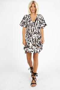 Oversized Leopard Print Smock Mini Dress