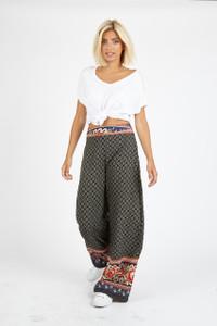 Multi Paisley Print Wide Leg Trouser