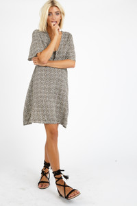 Leopard Ditsy Print Smock Mini Dress