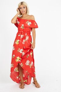 Red Floral Bardot Maxi Dress