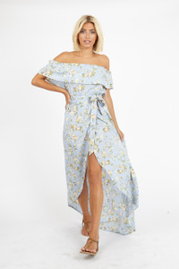 Blue Green Floral Bardot Maxi Dress