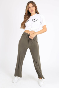 Khaki Slinky Tie Front Pants