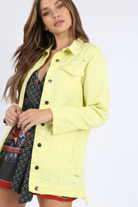 Yellow Longline Distressed Denim Jacket