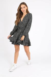 Black Spot Double Ruffle Wrap Mini Dress
