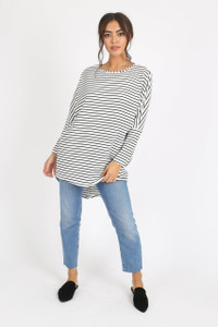 White Stripe Long Sleeve Dip Hem Top