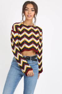 Wine Multi Chevron Knitted Crop Jumper