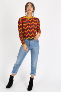 Red Multi Chevron Knitted Crop Jumper