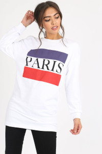 White Paris Slogan Sweat Dress