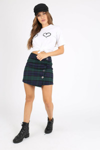 Green Tartan Check Button Wrap Mini Skirt