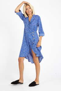 Blue Irregular Spot Button Wrap Midi Dress