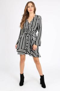 Mono Stripe Ruffle Hem Wrap Mini Dress