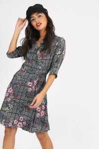 Black Floral Wrap Over Dress