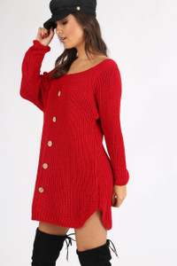 Red Button Detail Knitted Dress