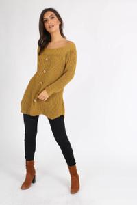 Mustard Button Detail Knitted Dress