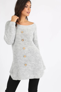 Grey Button Detail Knitted Dress