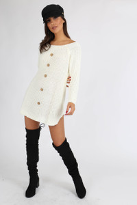 Cream Button Detail Knitted Dress