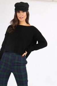 Black Chunky Knit Wide Neck Crop