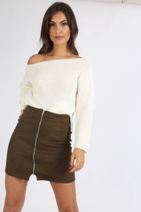 Khaki Suedette Zip Front Mini Skirt