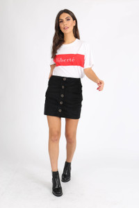 Black Cord Button Down Mini Skirt