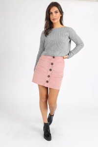 Pink Cord Button Down Mini Skirt