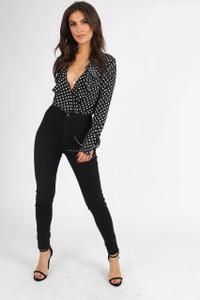 Black Polkadot Ruffle Front Bodysuit