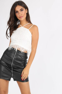 White Lace Double Strap Crop Top