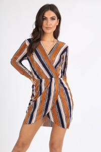 Mustard Multi Stripe Plissé Mini Dress
