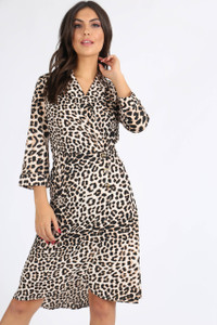 Leopard Print Side Button Midi Dress