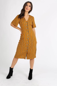 Mustard Stripe Button Down Midi Dress