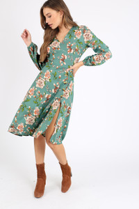 Green Floral Asymmetric Button Midi Dress