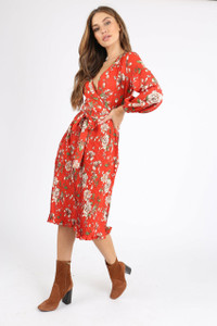 Red Floral Pleated Skirt Midi Dress