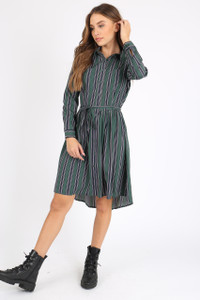 Green Stripe Tie Front Shirt Dress