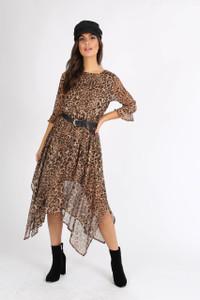 Leopard Print Chiffon Hankey Hem Midi Dress