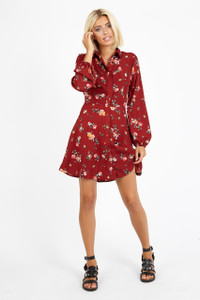 Red Floral Button Down Shirt Dress