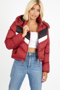 Burgundy Chevron Colour Block Front Puffer Jacket