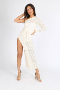 White One Shoulder Open Side Knitted Maxi Dress