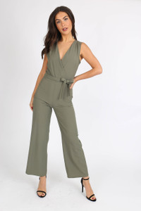 Khaki Sleeveless Wrap Front Jumpsuit