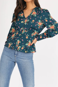 Green Floral Button Down Smock Blouse
