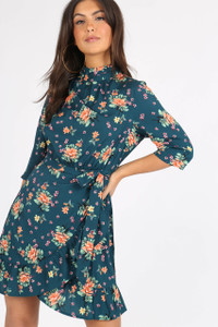 Green Floral High Neck Tie Waist Mini Dress