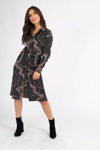 Black Multi Print Button Down Shirtdress